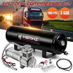 12V 3 Gal Air Tank 200 PSI Compressor Onboard System Kit For Train Truck