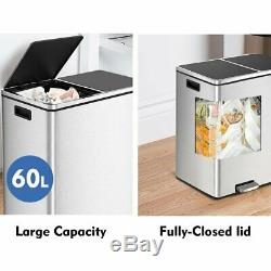 16 Gal Step Trash Can, Fingerprint Proof Stainless Steel Recycle Pedal Dustbin