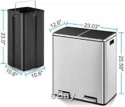 16 Gal Step Trash Can Garbage Can Classified Recycling Bin Double Compartment US