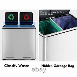 16 Gallon Dual Kitchen Step on Trash Can Recycle Garbage Bin Stainless Steel US