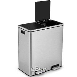 16 Gallon Dual Step Trash Can Recycling Stainless Steel Double Bucket Pedal Bin