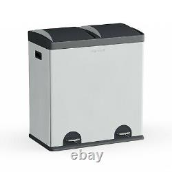 16 Gallon Tall Trash Can Dual Compartment & Recycling Waste Bin With Lid Steel NEW