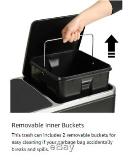 16 Gallon Trash Can Classified Recycling Garbage Can Inner Buckets Removable New