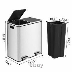 16Gallon Dual Kitchen Trash Can Recycle Garbage Can Stainless Steel Step on Bin