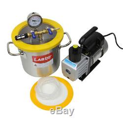 2 Gallon Stainless Steel Degassing Vacuum Chamber with 5CFM Vacuum Pump from Kit