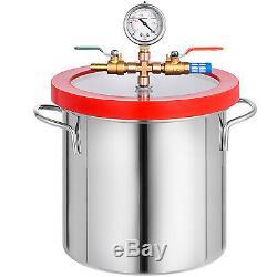 2 Gallon Vacuum Chamber Degassing Silicone Tool 3 CFM Vacuum Pump 54L/min HVAC