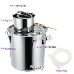 3/5/8Gal 2Pots Alcohol Distiller Water Wine Moonshine Stainless Still Boiler
