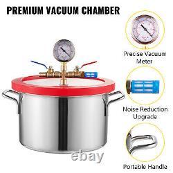 3 CFM Vacuum Pump + 1 Gallon Vacuum Chamber 5Pa Single Stage Gauge 220ml 84L/min