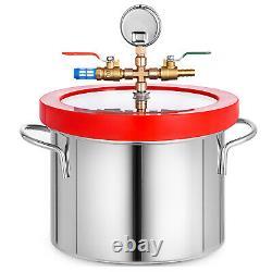 3 CFM Vacuum Pump + 1 Gallon Vacuum Chamber Manifold AC 1720RPM 84L/min 220ml