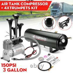 3 GAL 4 Trumpet Air Horn Tank 150PSI Compressor Train Truck Boat RV Loud System