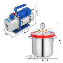 3 Gallon Vacuum Chamber 4 CFM Deep Vane Pump Purge 5Pa Stainless Steel PRO