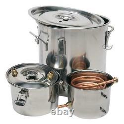 3 POT 5 Gallon 20L DIY Water Alcohol Wine Distiller Moonshine Still Boiler Kit
