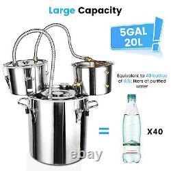 3 Pot 5 Gallon Water Wine Alcohol Distiller Moonshine Still Boiler Stainless