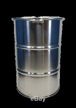 30 Gallon Stainless Steel Barrel Drum Open Top With Bungs NEW