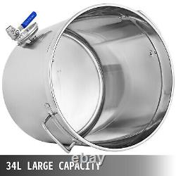 37QT Stainless Steel Stock Pot with Thermometer Kitchen Soup Kettle 9 Gallon