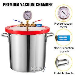 3CFM Vacuum Pump 3 Gallon Vacuum Chamber Stainless Steel Single Stage 1/4HP