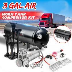 3GAL Air Tank 200PSI Compressor 4 Trumpets Horn Pickup Loud System Truck Train