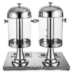 4.2Gallon 8L2 Tanks Frozen Cold Drink Beverage Juice Dispenser Machine Sliver
