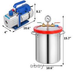 4 CFM 2 Stage Vacuum Pump 3 Gallon Vacuum Chamber Degassing Silicone Kit RS-1.5