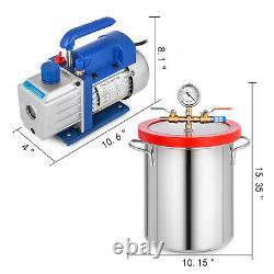 4 CFM Vacuum Pump 2 Gallon Vacuum Chamber Degassing Kit 1/3HP Single Stage