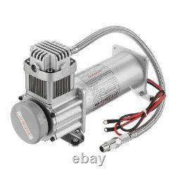 5 GAL 4 Trumpet Air Horn Tank 200PSI Compressor Onboard Set For Train Truck Boat
