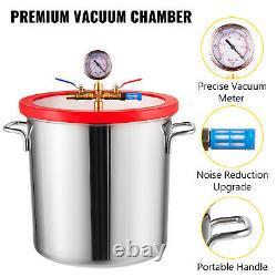 5 Gal Chamber Chamber Degassing Silicone With 5CFM Vacuum Pump Deep Vane 1/3 HP