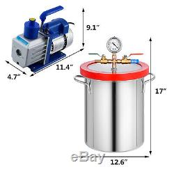 5 Gallon 21L Vacuum Degassing Chamber Silicone Kit with 5CFM Pump Hose