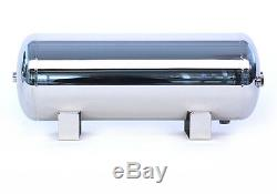 5 Gallon Polished Stainless Steel 5-Port Air Reservoir Tank with 3/8 NPT