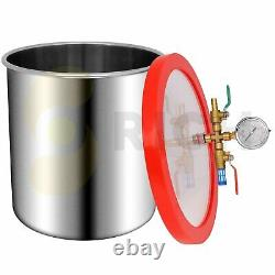 5 Gallon Stainless Steel Vacuum Chamber 5CFM Pump Degassing Silicone Epoxy Resin