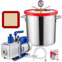 5 Gallon Vacuum Chamber Degassing Silicone Stainless Steel & 5 CFM Vacuum Pump