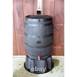 50-Gallon Rain Barrel Water Collector Storage Tank Flat Back 100% Recycled Black