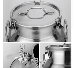 50L 13.25 Gallon Stainless Steel Milk Can Wine Pail Bucket Tote Jug in one piece