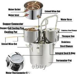 8Gal Moonshine Water Alcohol Distiller 30L DIY Whiskey Still Boiler +Copper Tube