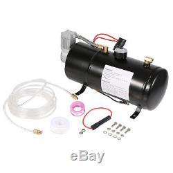 Air Horn 0.8 Gallon 3L Metal Air Tank Bag+150PSI Compressor 12V+Hose+Fitting HOT