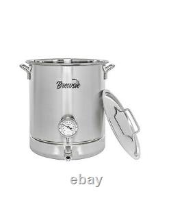BREWSIE Stainless Steel Home Brew Kettle Thermometer, Ball Valve, Mash Tun
