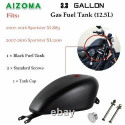 Black 3.3 Gallon EFI Gas Fuel Tank for Harley Sportster XL 1200 883 2007-2016