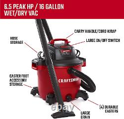 CRAFTSMAN Heavy-Duty Shop Vacuum 16-Gal 6.5HP Wet/Dry Vacuum & Attachments NEW