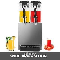 Commercial Beverage Dispenser 150W 6.3 gal Cold Drink Machine 2 tanks 2×12 L