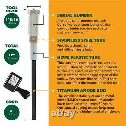 Corro-Protec Powered Anode Rod for Water Heater Stops Sulfur Smell & Corrosion