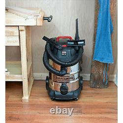 Craftsman 8 Gallon Stainless Steel 4 Peak HP Wet/Dry Vac Accessories Included