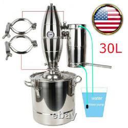 FDA 8Gal /30L Stainless Steel Alcohol Distiller Moonshine Boiler Water Still Kit