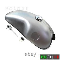 For Cafe Racer Motorcycle Gas Fuel Tank Iron 10L 2.6 Gallon Universal Tank Kit