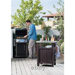 Keter Unity 40gal Patio Storage Grilling Bar Cart with Stainless Steel Top, Brown
