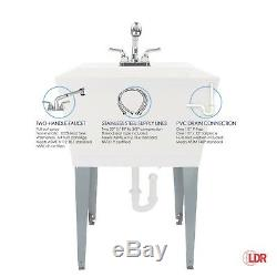 LDR 040 6000 19 Gallon Laundry Sink Utility Tub Set with Pull-Out Plastic Faucet