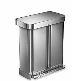 NEW Garbage Waste Trash Bin Basket Can Stainless Steel Kitchen 16 Gallon Lid