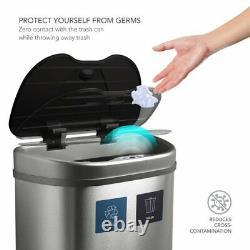 NINESTARS Automatic Kitchen Trash Can, Dual Compartment Recycling Bin 19 Gallon