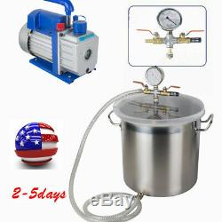 Top 5 Gallon Vacuum Degassing Chamber Silicone Kit with3 CFM Pump USA CA STOCK