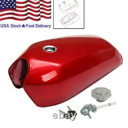 US Stock Red 9L/2.4 Gallon Motorcycle Racer Vintage Fuel Gas Tank & Cap Switch
