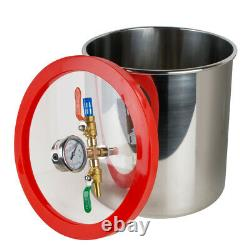 USA Hot 5 Gallon Stainless Steel Vacuum Degassing Chamber Kit with3 CFM Pump Hose