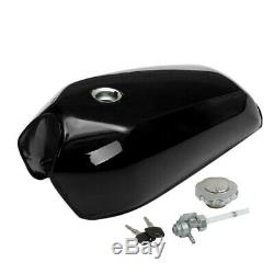 Universal 9L/2.4 Gallon Motorcycle Cafe Racer Gas Fuel Tank fit cap switch